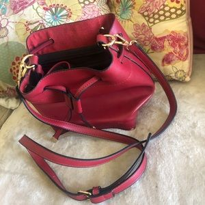 TOBI Deep Red with Gold accoutrements tote
